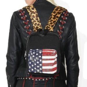Handbags - Mini flag backpack w leopard stripes